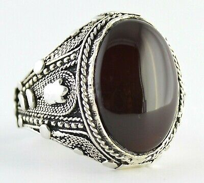 YEMENI Natural Red Liver Kapidy Aqiq Akik Hakik Yemen Silver Men Ring عقيق كبدي