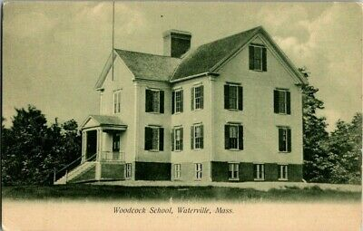 EARLY 1900'S. WOODCOCK SCHOOL, WATERVILLE, MASS. POSTCARD t14