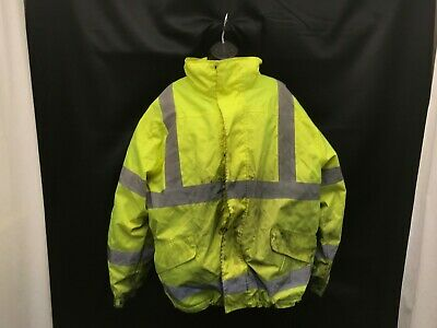 Snap N Wear Safety Neon Yellow Jacket Dirty Size L #40
