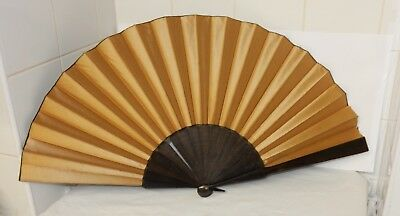 Antique19th Centaury Japanese Mans Hand Fan Gold Silk and Matt Black