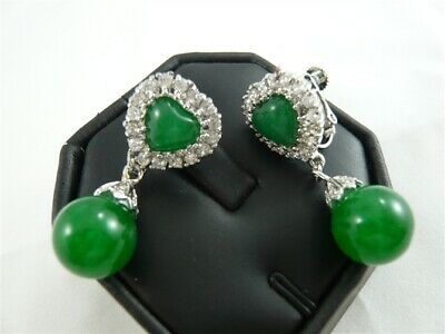 Women Green Jade Heart- Earrings Jewelry Girls Valentine Love Gift Jewelry Gift