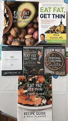 EAT FAT, GET THIN By Dr. Mark Hyman Kit 2 Dvds  4 CDs 21-day Plan Recipes & Book