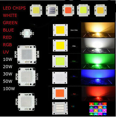 10W 20W 30W 50W 100W RGB UV COB SMD LED Chips DIY Bead High Power Light Lamp