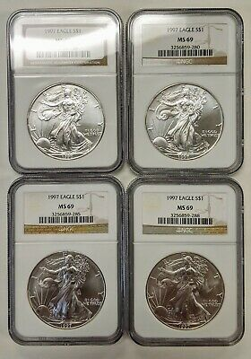 1997 American Silver Eagle NGC MS69 Brown Label Nice White Coin