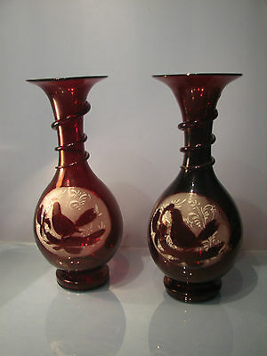 Victorian pair of ruby red vases twisted stem flared  knecks dove decoration