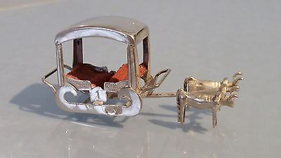French Silver miniature oxen pulling a carriage hallmarked boars head