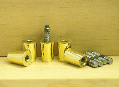 "5 Pack BRASS Polished Tap Handle Ferrule 3/8""-16 with 5/16""X1.5"" Hanger Bolt"