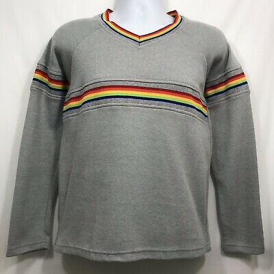Vintage 80s Jazz Sport Pullover Sweater Men's Size M Gray V Neck Rainbow Stripes