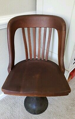 Antique Oak Jury Bankers Taylor Chair Co Cast Iron Swivel Base Lawyer Bolt Down