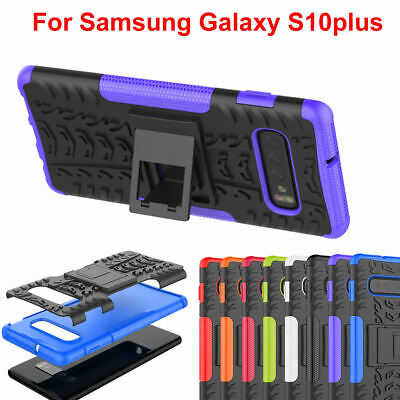 Samsung S10 plus Cover Case Shock Proof PC Rubber Armor Hybrid Kick Stand