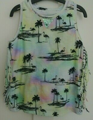 New Next Girls 100% cotton sleeveless Tropical top  Multi age 3 years