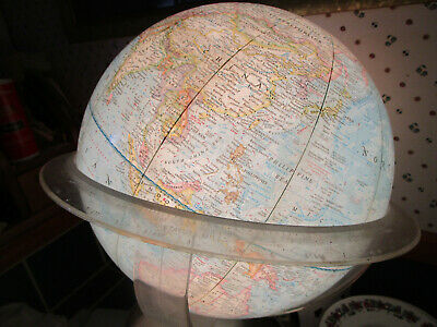 1962 National Geographic World GLOBE w/ Stand Lamp, Night Light RARE, Vintage, W