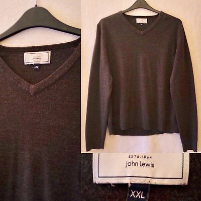 Men's John Lewis Chocolate Brown Acrylic V Neck Jumper XXL 2XL Sweater Knit Top