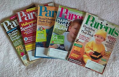 Lot of 5 Parents Magazine Back Issues - 2009, 2010