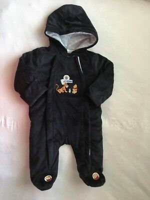 Disney Baby One Piece Snowsuit hood Winnie Pooh Tigger 6-9 mo blue Zipper