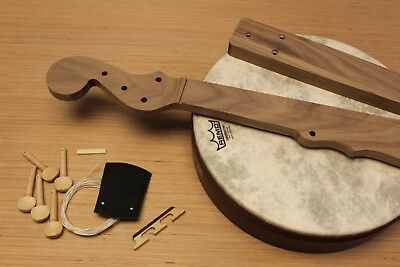 DIY Minstrel Banjo Kit Handmade in USA Fretless Solid Walnut And Remo Drumhead