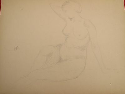 Edmund Quincy Pencil On Paper Sketch Drawing Nude Woman Female 2 Sided Listed