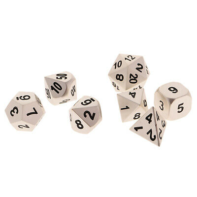 7x Metal Multi-sided Dices D4 D6 D8 D10 D12 D20 for Role Playing Game Silver