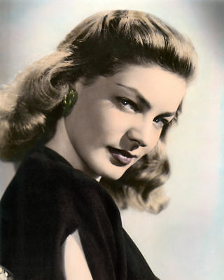 """LAUREN BACALL HOLLYWOOD ACTRESS & MOVIE STAR 8x10"""" HAND COLOR TINTED PHOTOGRAPH"""