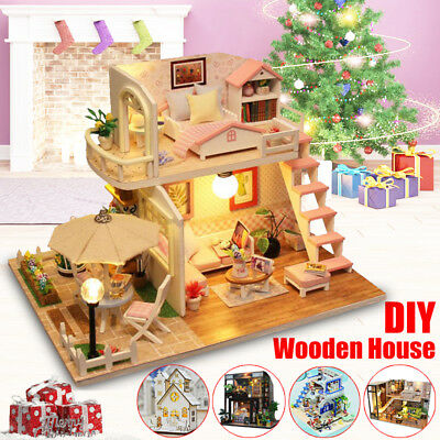 Wooden Doll House Handcraft DIY Miniature Kit Girls Cute Christmas Gift  AU