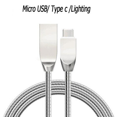 1 * Zinc Alloy 2.4A Fast Charging Data Cable Cord With Micro/Type C /IOS Adapter