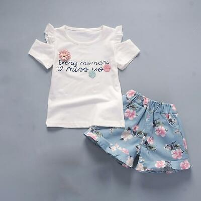 2 pcs Kids summer outfits baby Girls summer Tee+ short pants floral baby outfits
