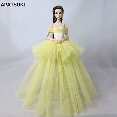 "Yellow Fashion Costume Clothes For 11.5"" Doll Dress 1/6 Wedding Dresses Outfits"