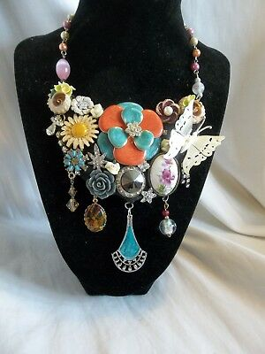 2593ef2d113d Vintage Flowers Butterfly Rhinestone Assemblage Collage Statement Necklace  OOAK