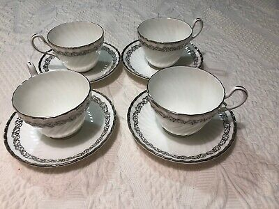 FOLEY EB & CO BONE CHINA Cup And Saucer Set Of 4 Silver Scroll