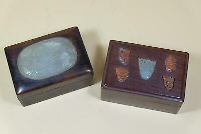 Two Chinese Jade Agate Inlaid Wood Scholars Boxes.