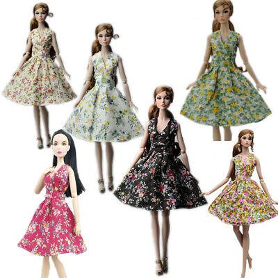 "6pcs Fashion Countryside Floral Dress For 11.5"" Doll Clothes Party Gown Outfits"