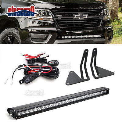 """30"""" 150W LED Light Bar+Lower Bumper Brackets Fit Chevy Colorado GMC Canyon 15-UP"""