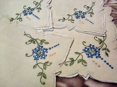 Pretty Madeira Embroidered Set of 4 Vintage Linen Lunch Napkins 11""