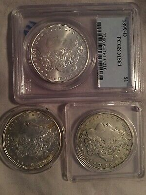 Lot Of 3 - Morgan Silver Dollar Coins: 1- 1899 O PCGS MS64, 1- 1921 S, 1- 1921