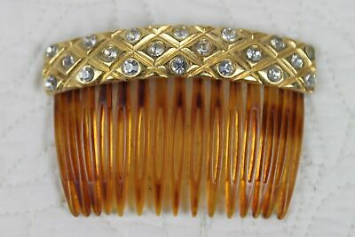 Vintage Faux Tortoise Shell Gold Rhinestones Hair Comb Made in France