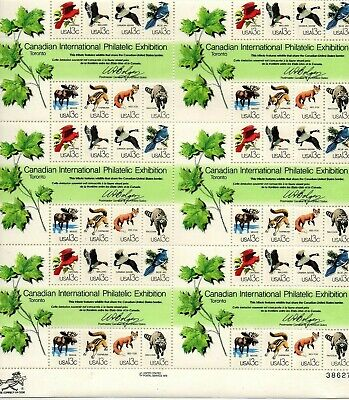 US stamps 1978 CAPEX Canada Wildlife 6  Souvenir Sheet, # 1757,MNH VF 13c x 48