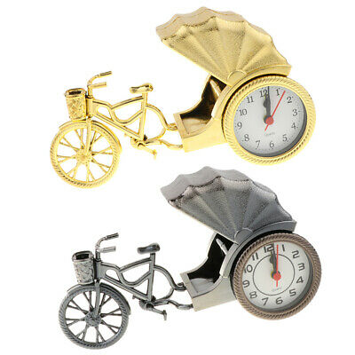 2Pack Retro Ricksha Clock Creative Tricycle Table Clocks Golden& Silver