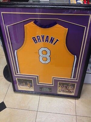 a8e4f50813a Kobe Bryant signed autographed framed Los Angeles Lakers jersey NBA  champion PSA