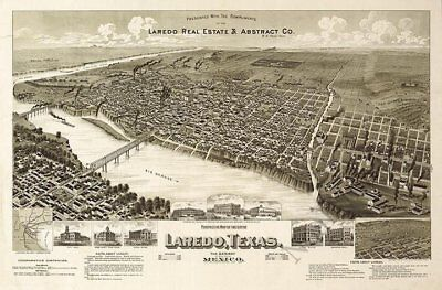 Perspective map of the city of Laredo TX c1892 repro 36x24