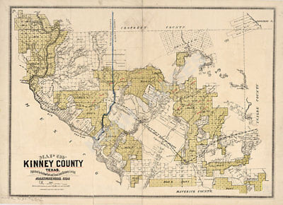 Map of Kinney County TX c1884 repro 33x24