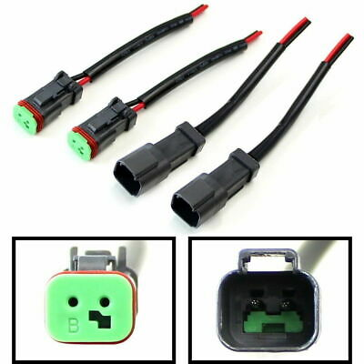 4x Heavy Duty Deutsch Male/Female DT DTP Adapters Connectors Pigtails For Lights