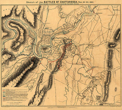 Sketch of the battles of Chattanooga TN c1863 repro 22x20