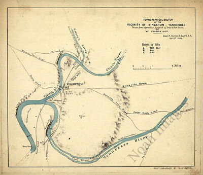 Topographical sketch of the vicinity of Kingston TN c1863 repro 14x12