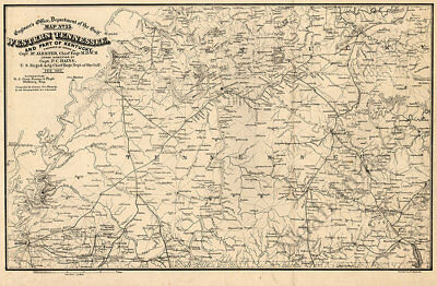 Map of Western Tennessee and part of Kentucky c1865 repro 30x20