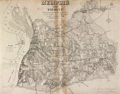 Map of Memphis and vicinity TN c1860s repro 30x24