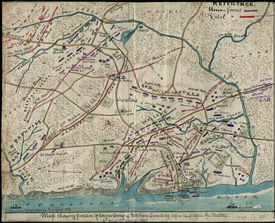 Map showing position of Union Army at Pittsburg Landing TN c1862 repro 15x12
