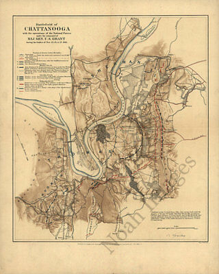 Map oㄹ Battlefield of Chattanooga under General Grant c1863 repro 16x20