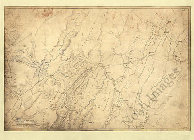 Map showing the army movements Chattanooga TN c1864 repro 22x16