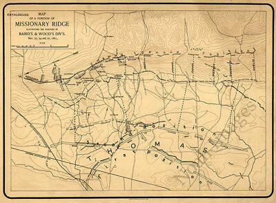 Map of a portion of Missionary Ridge TN c1863 repro 20x16