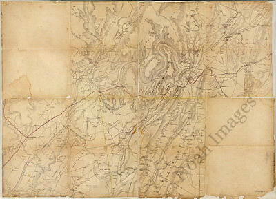 Map of the environs of Chattanooga TN c1864 repro 33x24